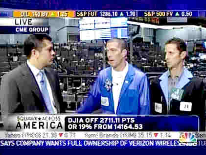 CNBC's Carl Quintanilla (left) interviews stock traders Ben Lichtenstein (middle), Tradersaudio.com, and Jim Iuorio, TJM Institutional Services <font face=Arial size=-2>(Source: CNBC)</font>