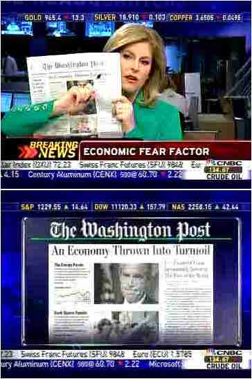 "CNBC's Sue Herrera points to the word ""Turmoil"" in the Washington Post headline <font face=Arial size=-2>(Source: CNBC)</font>"