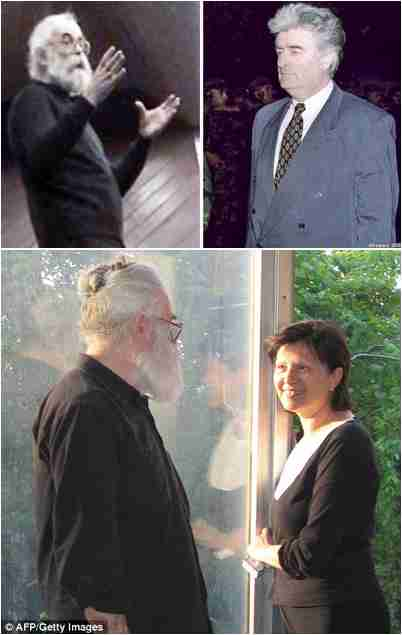 "Top left: ""Dr. Dragan Dabic"". Top right: Radovan Karadzic, mid-1990s. Bottom: Karadzic with his girlfriend Mila. <font face=Arial size=-2>(Source: FT/Daily Mail)</font>"