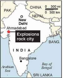 India: Explosions strike Bangalore on Friday, Ahmadabad on Saturday <font face=Arial size=-2>(Source: Pakistan Daily Times)</font>