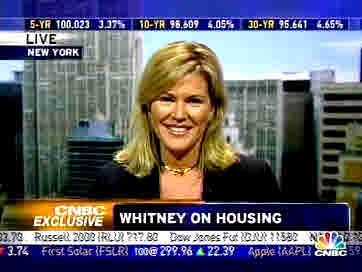 Meredith Whitney, director of equity research at Oppenheimer <font face=Arial size=-2>(Source: CNBC)</font>