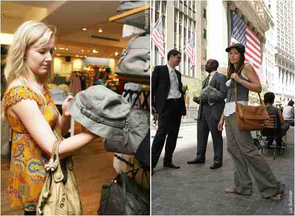 Lower east sider Renee Finn (left) eyes up a '30s-style hat at a Midtown Gap, while model Megan (right) looks ready to peddle some newspapers in the Financial District. <font face=Arial size=-2>(Source: NY Post)</font>
