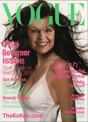 Sarah Palin in photoshopped <i>Vogue</i> magazine cover <font face=Arial size=-2>(Source: Kodiak Konfidential blog)</font>