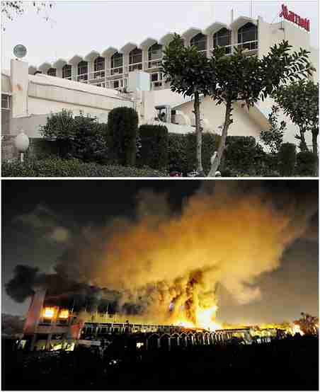 Islamabad Marriott Hotel, before and after the terrorist bomb blast. <font face=Arial size=-2>(Source: nytimes.com)</font>