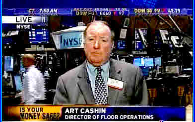 Art Cashin, on floor of NY Stock exchange. <font face=Arial size=-2>(Source: CNBC)</font>