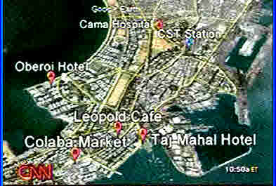 Mumbai: Terror attack targets <font face=Arial size=-2>(Source: CNN)</font>