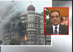 Pakistan President Asif Ali Zardari being interviewed live on Indian tv <font face=Arial size=-2>(Source: CNN-IBN)</font>