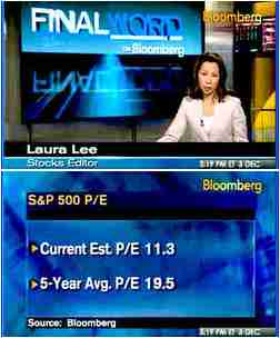 Top: Laura Lee, Bloomberg reporter; bottom: slide displaying values for price/earnings ratio <font face=Arial size=-2>(Source: Bloomberg)</font>