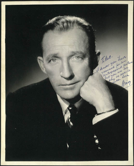 Bing Crosby -- autographed picture sent to Bob Hope