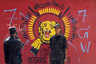 A Sri Lankan soldier poses in front of a defaced LTTE emblem in the captured district of Mullaittivu <font face=Arial size=-2>(Source: AFP/Al-Jazeera)</font>