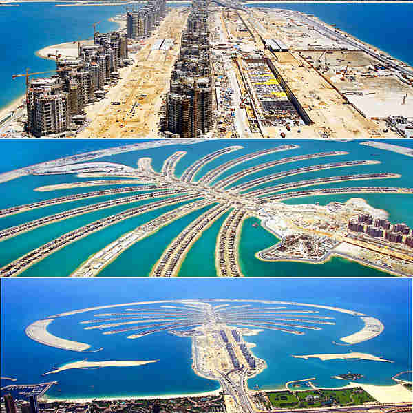 Palm Jumeirah Islands, one of several groups of man-made islands developed off the coast of Dubai
