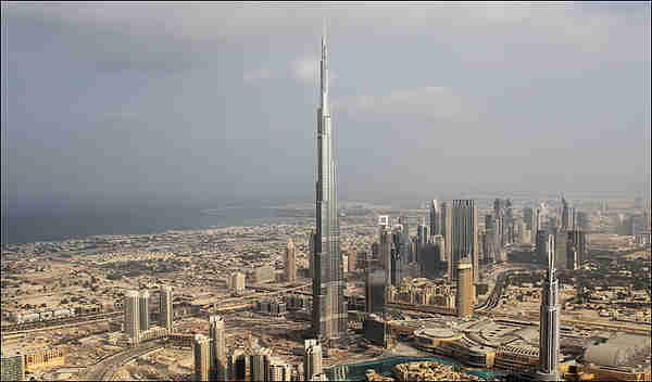 The Burj Dubai hotel, the tallest skyscraper in the world, dominates the Dubai skyline.