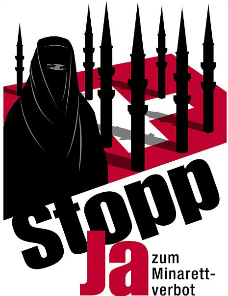 Campaign poster by Swiss People's party advocating the ban on minarets - From 2009