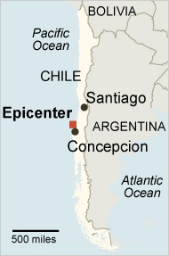 Epicenter of Chile's earthquake <font size=-2>(Source: NY Times)</font>