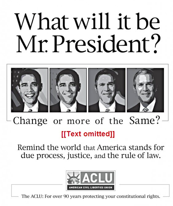 ACLU ad showing Barack Obama morphing into George Bush