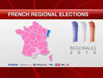 French regional elections -- Sarkozy's party lost in all in provinces except in Alsace, shown in blue in France's northeast. <font size=-2>(Source: france24.com)</font>