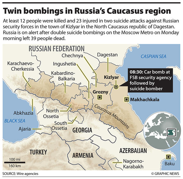 Map: Bombings in Dagestan <font face=Arial size=-2>(Source: CS Monitor)</font>