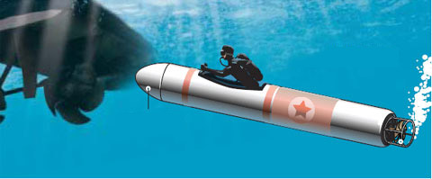 Human torpedo - artist depiction <font size=-2>(Source: Chosun)</font>