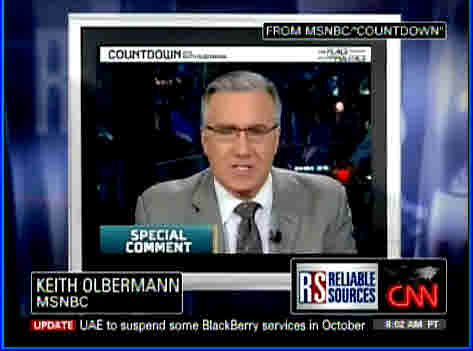 MSNBC's Keith Olbermann appearing in a video clip on CNN's Reliable Sources <font size=-2>(Source: CNN)</font>