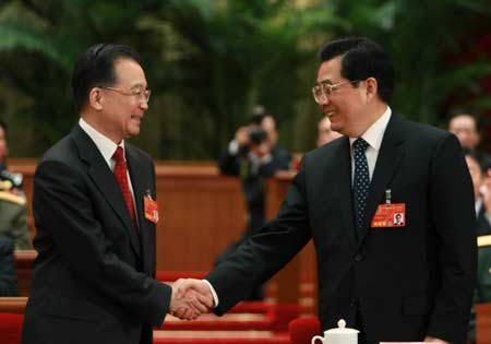 China's President Hu Jintao (R) and Premier Wen Jiabao in 2008 <font face=Arial size=-2>(Source: Xinhua)</font>
