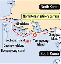 Yeonpyeong is below the NLL (Northern Limit Line), the sea border that divides North and South Korea (Korea Times)