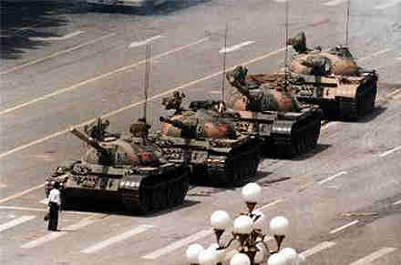 Student blocks row of tanks -- 'tank man' -- in China's Awakening climax in Tiananmen 1989 Square