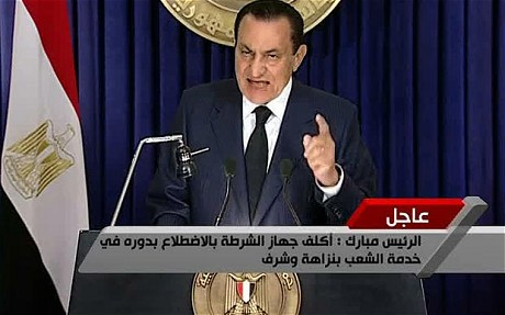 Hosni Mubarak giving speech on Tuesday (Telegraph)