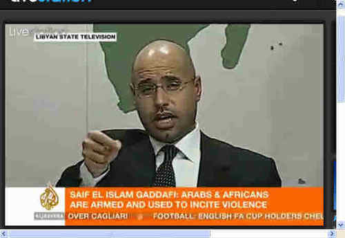 Saif al-Islam Qaddafi, speaking to Libya on Sunday