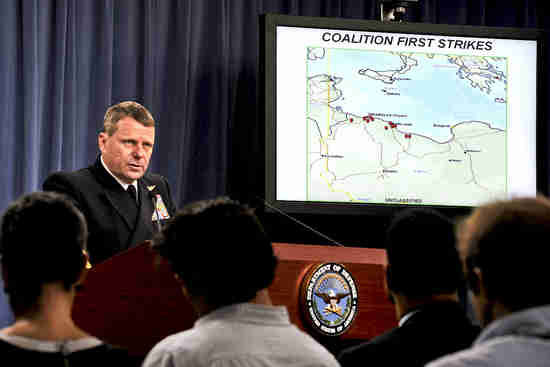Navy Vice Adm. William E. Gortney at Pentagon press briefing