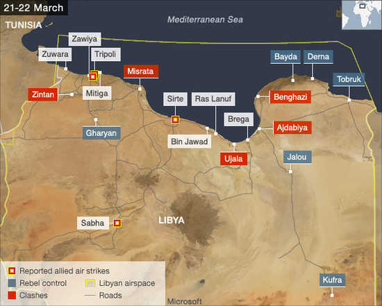 Libya military action, March 21-22 (BBC)