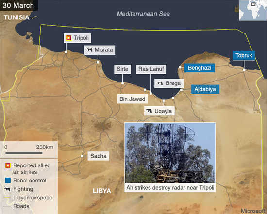 Libya military actions - March 30 (BBC)