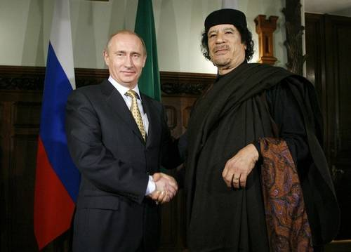 Vladimir Putin and Muammar Gaddafi (Jamestown)