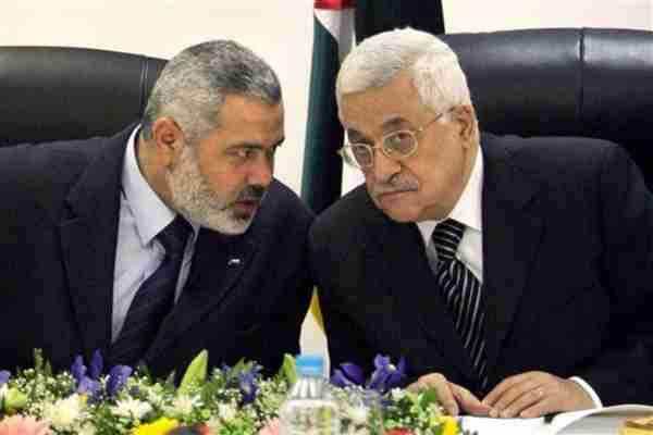 Hamas leader Ismail Haniyeh and Palestinian President Mahmoud Abbas on March 18