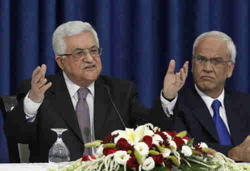 Palestinian Authority officials Mahmoud Abbas and Saeb Erekat
