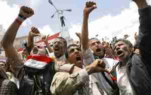 Anti-government protesters in Sanaa, Yemen (AFP)