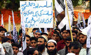 Pakistanis in Lahore protesting the U.S. raid to kill Osama bin Laden
