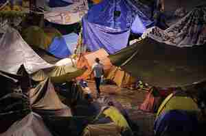 Tent city in Puerta del Sol square in central Madrid (AFP)