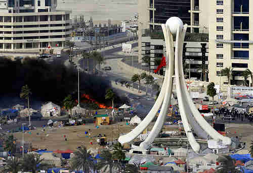 Manama's Pearl Square after March 15 protests.  The beautiful Pearl monument was torn down by the regime on March 18, because it was thought to be encouraging protests.