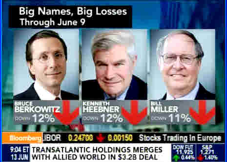 Berkowitz, Heebner, Miller funds down 11-12% this year (Bloomberg)