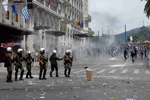 Anti-austerity rioting in Athens on Wednesday (AP)
