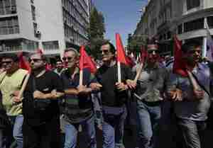 Communist party protesters in Athens, Saturday (AP)
