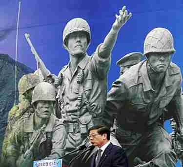 South Korean Prime Minister Kim Hwang-sik speaks on Korea War Memorial Museum in Seoul on Saturday (AP)