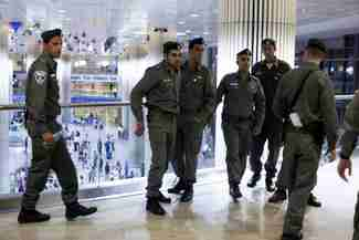 Israeli police deploy at Tel Aviv airport on Thursday
