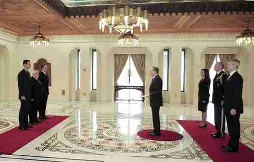Robert Ford presents his credentials to Bashar al-Assad in January (SANA)