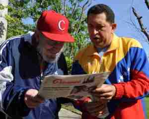Hugo Chavez with Fidel Castro