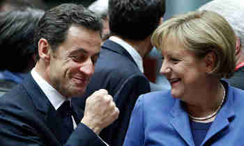 Nicolas Sarkozy and Angela Merkel, Europe's odd couple, in Berlin Wednesday