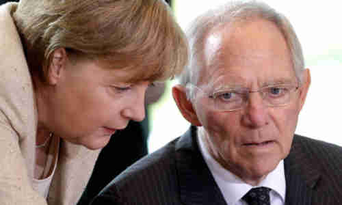 Angela Merkel and Wolfgang Schäuble in June (AP)