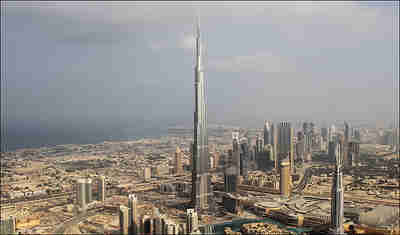 The Burj Khalifa hotel in Dubai, the tallest skyscraper in the world