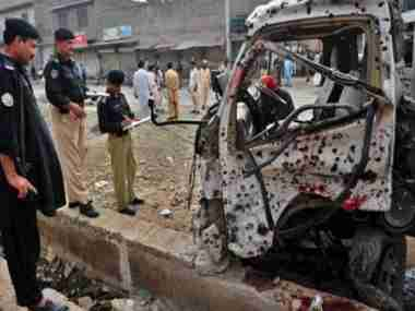 Police van affected by bomb blast