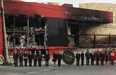 Calderon attends a cermony outisde the Casino Royale after terror attack (AP)